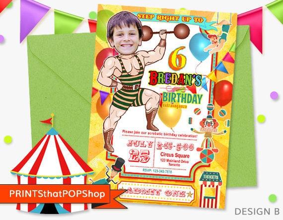 Carnival InvitationCircus InvitationCustom Face Invites Babys First BirthdayKids Invitation Strong Man CarnivalClown Party