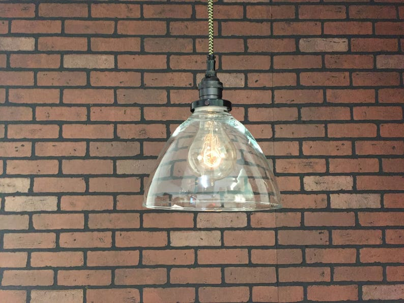 Pending SIMPLE PLUG Electrical Connectors and Edison Victorian Bulb Black 8 Clear Glass Cone Shade with Pat Industrial Pendant Light