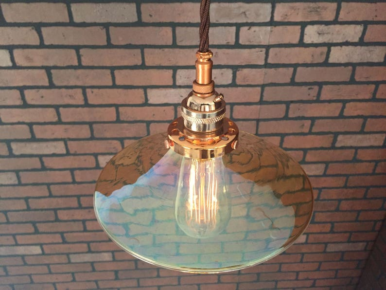 Copper 8 Glass Amber Flat Shade with Pat Industrial Pendant Pending SIMPLE PLUG Electrical Connectors and Edison Bulb