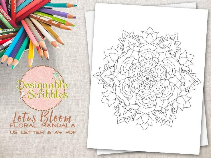 Adulto para colorear página hoja para colorear de Mandala | Etsy