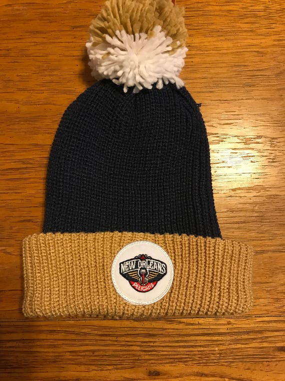 Vintage Style Nba New Orleans Pelicans Cuffed Knit Hat With Pom Beanie Mitchell And Ness New With Tags