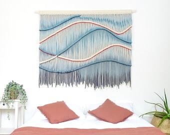 XXL Macrame Wall Hanging Modern Fiber Art Contemporary Tapestry Hand Dyed