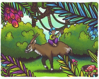 Critically Endangered Animal Saola Print