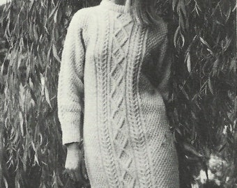 Sweater Dress Knitting Pattern   Diamond Cable Dress   Cable Knitting   PDF Download   Vintage 1967