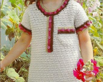Girls Crochet Dress Pattern | Vintage 1979 | Short Sleeve Sweater Dress with Bobbles and Pocket | Instant PDF Dowload Written Pattern