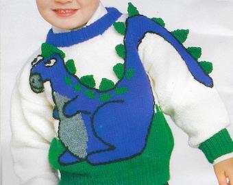 Kids Dinosaur Sweater Knitting Pattern | Vintage 1987 | Boys Girls 3D Dino Pullover | PDF Download | Stranded Colorwork |