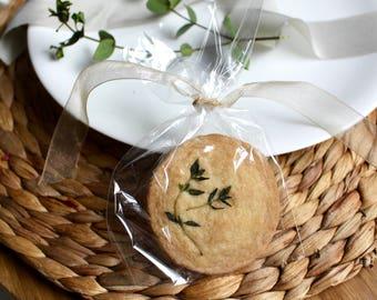x30 Edible Wedding Favours  |  Lemon & Thyme Shortbread Biscuits  |  Party favours  | Natural  |  Minimal