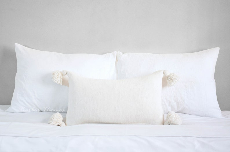 Moroccan Pom Pom Decorative Throw Pillow Cover Cotton Accent image 0
