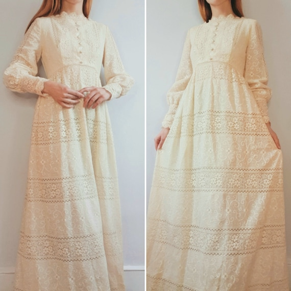 Vintage 60s 70s Cream lace maxi dress by Emma Domb