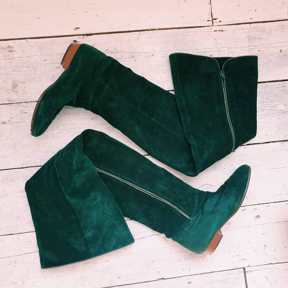 Vintage 70s 80s Thigh High Suede Green boots UK 4