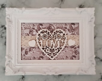 Shappy Chic, Love Heart Picture, 6 x 4, White Ornate Frame, 3D Embellishments