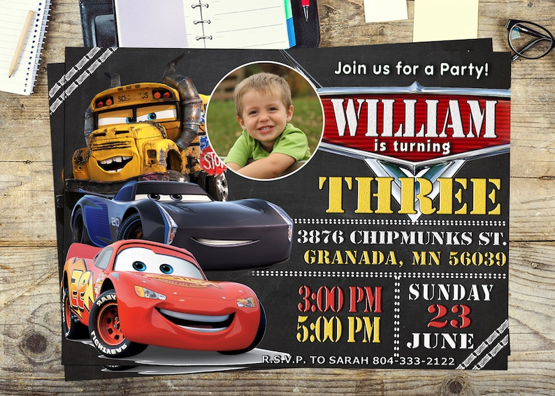 Cars 3 Disney Invite Invitation Birthday Party Personalized Printable Digital Thank You Card Free