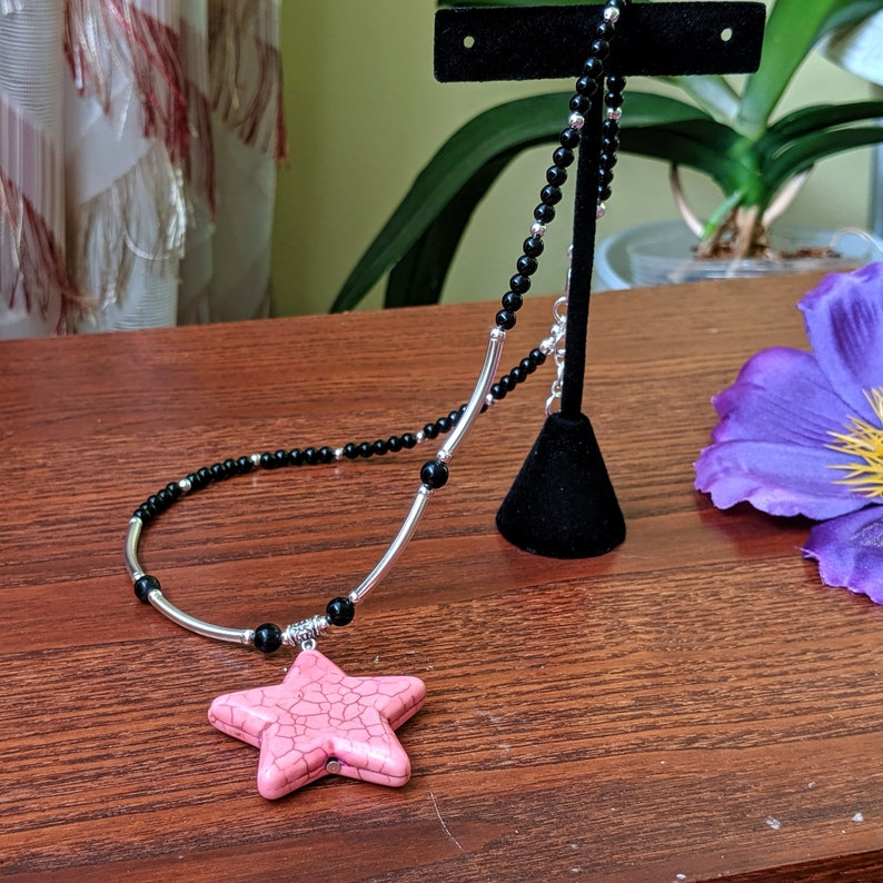 Handcrafted Pink Star bohemian necklace,Charm necklace,Choker,handmade boho jewelry,beaded necklace,for women gift for her,Christmas gift
