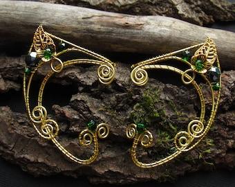Elf Ear Cuff Green Ear cuffs  Gold Ear Cuff Red ear cuff Elven ears Elf earrings Cuff Non Piercing Elf ears Wire wrapped ear cuff