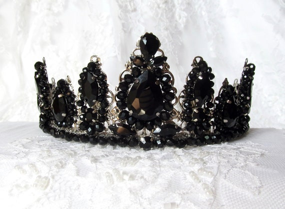 Black Quartz Cluster Crown,Dark Crystal Crown,Boho Crystal Crown,Black Bridal Crown,Wedding Headpiece,Wedding Crown,Bridal Headpiece,Gothic