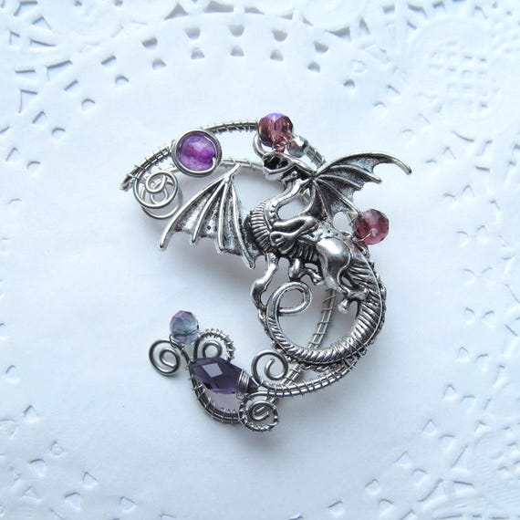 Silver Ear Cuff Dragon Purple Ear Cuff Wire Jewelry No | Etsy
