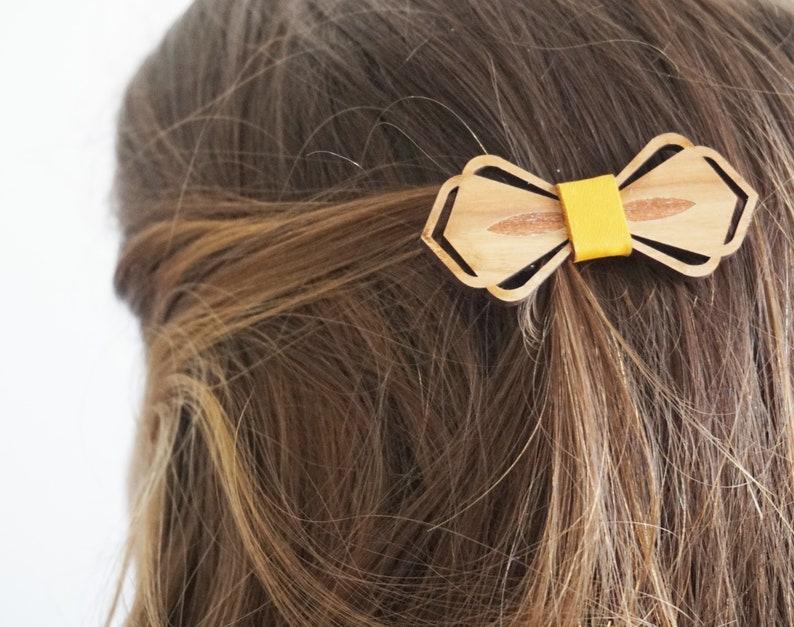 BARRETTE Le BUCOLIQUE cuir JAUNE , accessoire cheveux , demoiselle  d\u0027honneur , Studio Martho