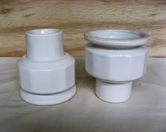 Pair of White Ceramic Candleholders for 2 Inch or 3 Inch Pillars