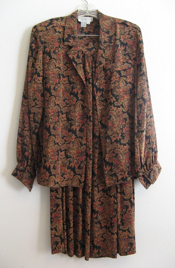 excellent condition silk Bankers Club 2-Piece Skirt /& Blouse Outfit size 10 earth tones paisley print on black