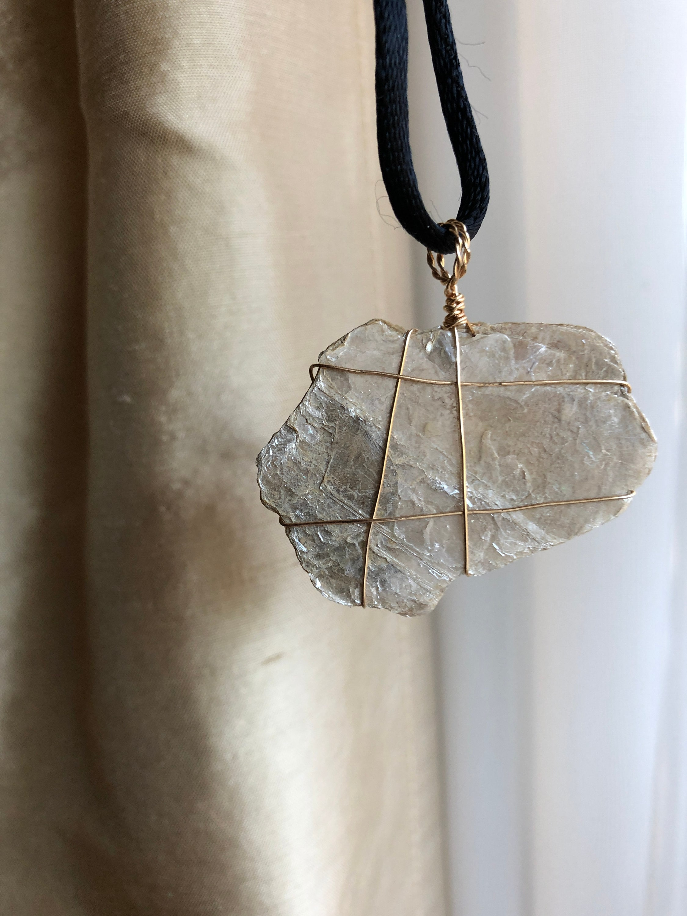 Mica and Clay Wrapped Necklace