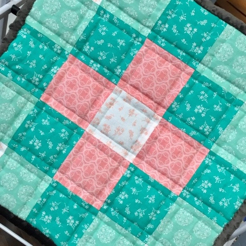 Nursery Baby Baby Blanket Small Cotton Fabric Toddler Quilt White Turquoise Soft Minky Blanket Unique Baby Shower Gift