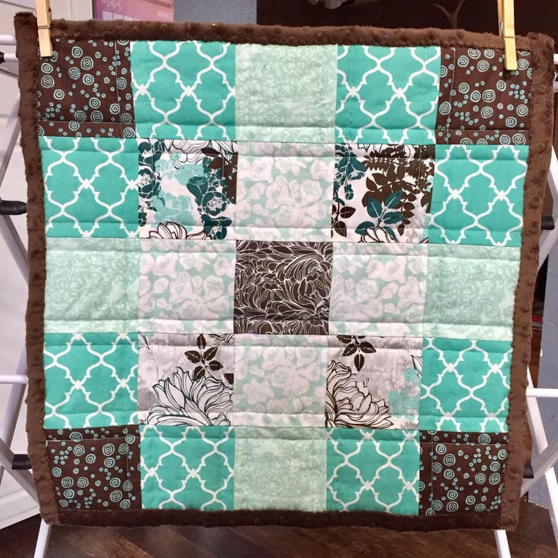 Soft Minky Blanket Baby Baby Shower Gift Turquoise White Cotton Fabric Toddler Baby Blanket Quilt Nursery Brown Small