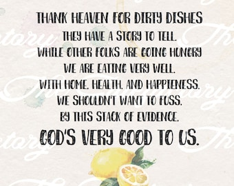 Thank God For Dirty Dishes - Food Kitchen Sign - Digital Image