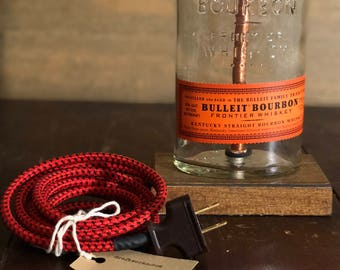 Re-purposed Bulleit Bourbon Bottle Lamp 750mL