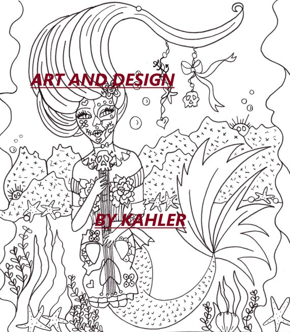 2 Coloring Pages Printable Of Pin Up Mermaid And Day Of The Dead Mermaid