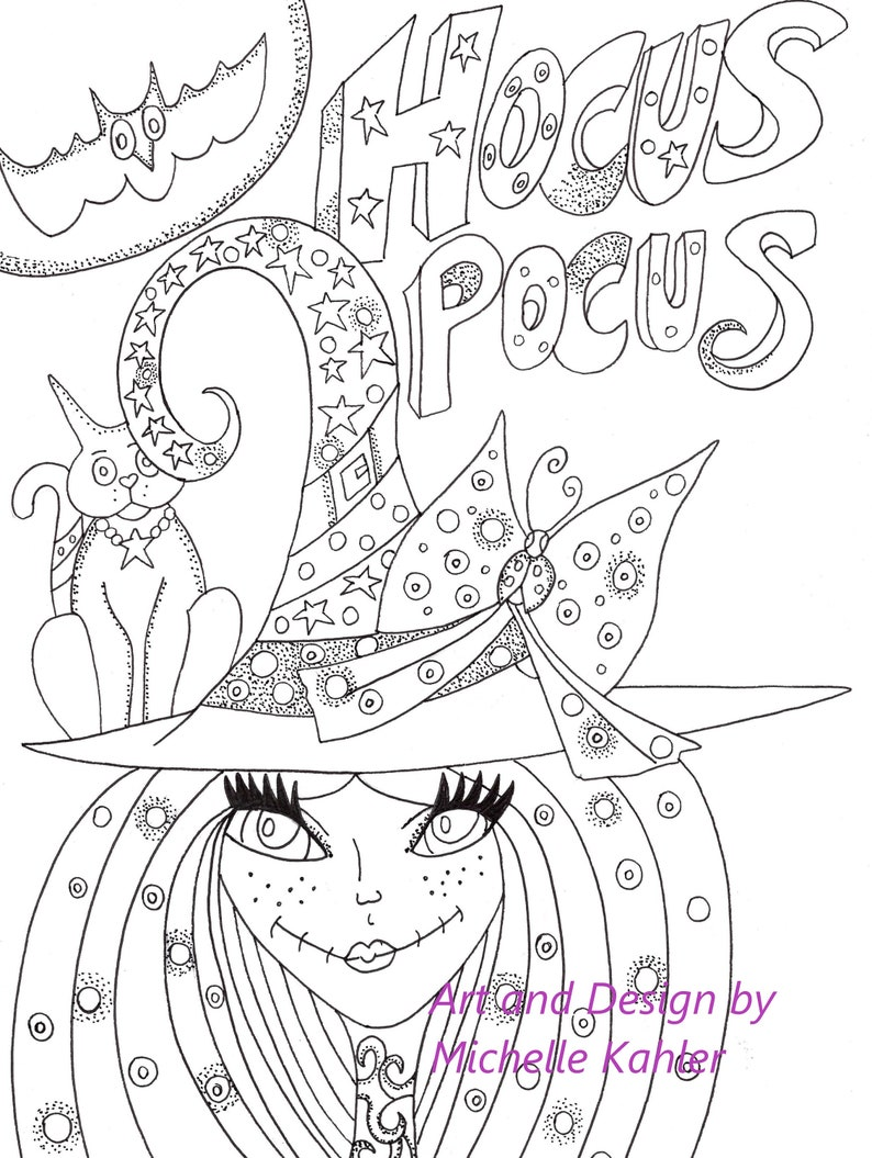 2 Printable Coloring pages of Hocus Pocus Witch and The Owl Tree