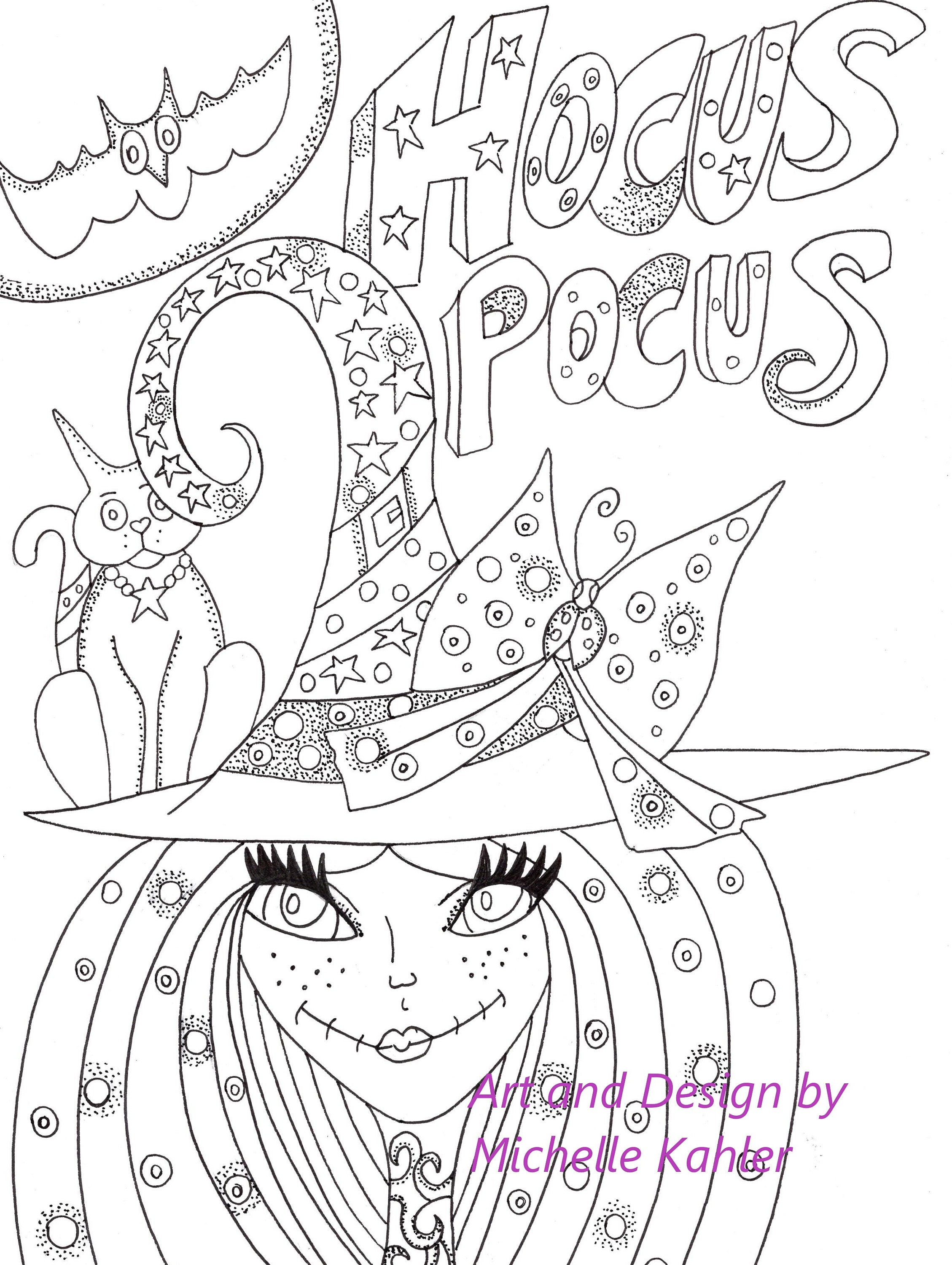 2 Printable Coloring pages of Hocus Pocus Witch and The Owl | Etsy