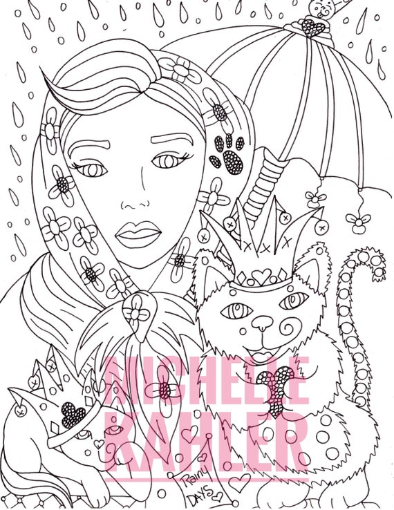 One Printable Coloring Page Of Joker Cats And Beautiesrainy Etsy