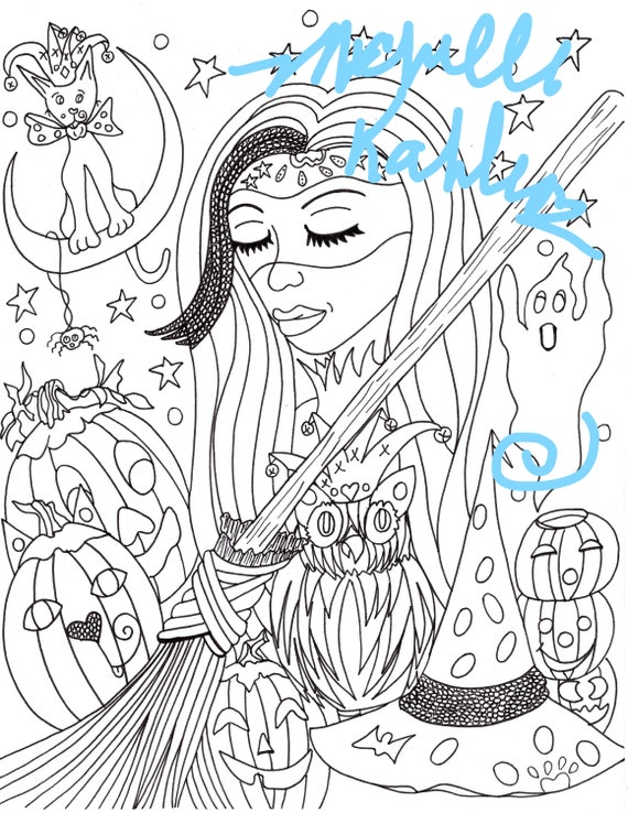2 Coloring Pages Of Halloween Joker Cats And Beauties