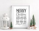 Merry Christmas Happy Hanukkah Kiss My Ass - National Lampoon 39 s Christmas Vacation Sign - Unframed 11x14 Art Print