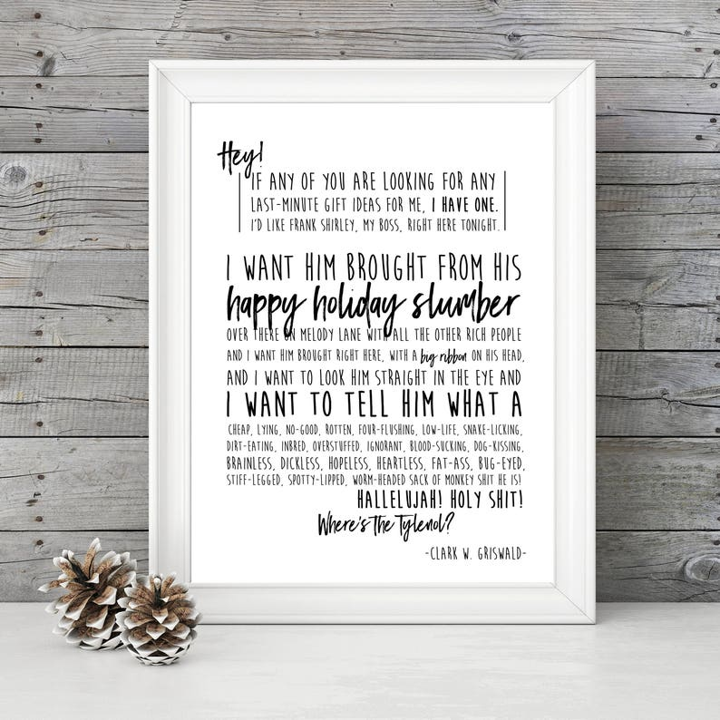 Christmas Vacation Boss Gift.National Lampoon S Christmas Vacation Clark S Speech 11x14 Christmas Holiday Home Decor Poster Griswald Movie Quote Movie Quote