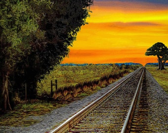 Sunrise on Southern Train Tracks