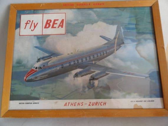 Vintage BEA British European Airways Poster  A3 Print