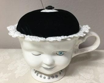 Bailey's cup pincushion