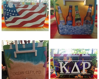 Custom, Personalized, Hand-Painted Cooler