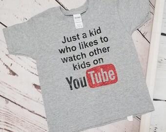 e7f33a79d YouTube Shirt, Youtuber, Youtube Kids Shirt, Girl You Tube Tee, Boy You  Tube Tee, Youtuber Shirt, Youtuber Kids, Kids Watching You Tube