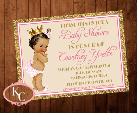 Royal Princess Baby Shower Invitation Pink And Gold Glitter Etsy