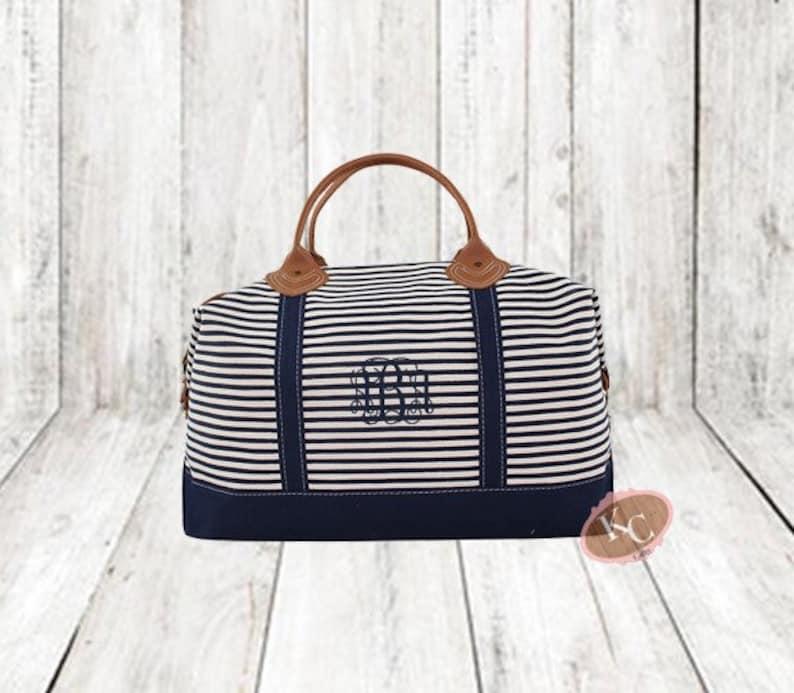 f7227ace522 Monogram Stripe Weekender, Large Tote Bag, Monogrammed Weekender Bag,  Weekender Bag Women, Weekender Tote, Navy Weekender