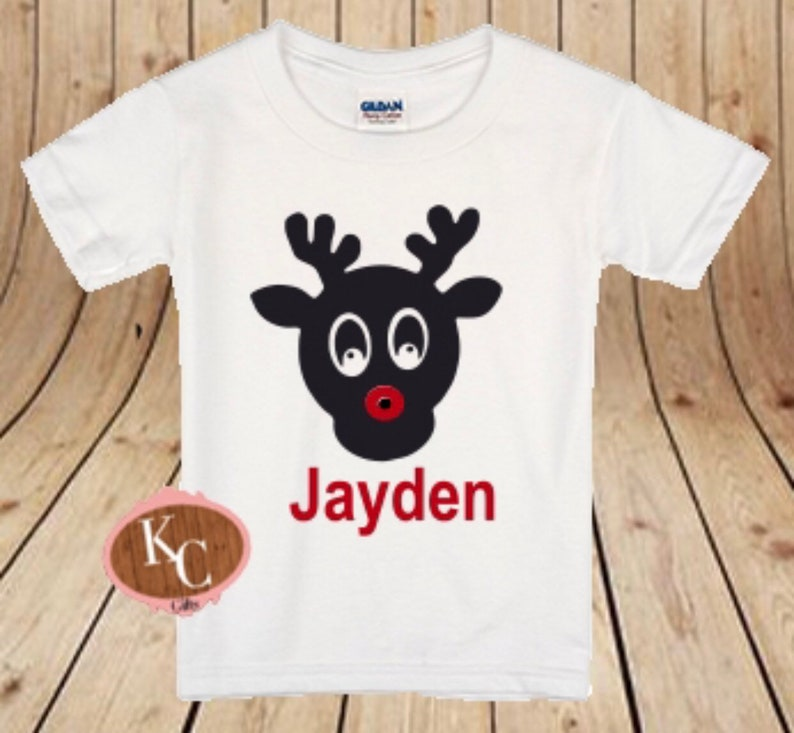 Reindeer Face Monogram Name Shirt Reindeer Shirt Christmas Shirt Cute Reindeer Shirt