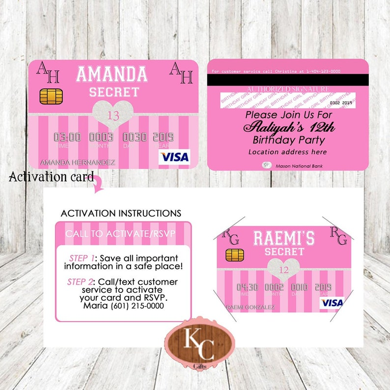 107b2b1058bf Victoria Secret Pink Party Decorations Credit Card