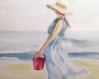 Beachwalk - Watercolor Digital Downloadable Art.