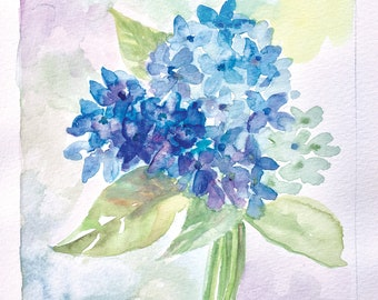 Hydrangea Watercolor Digital Downloadable Art Print. Hand Painted By Wendra