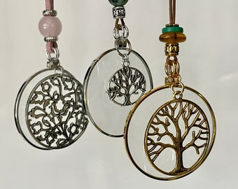 Magnifying Gemstone Necklaces - Long Necklace - Magnify the energy of crystal gems! Tree of Life, La Loupe By Wendra