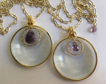 Magnifying glass necklace, Amethyst, Gold Chain, Long Necklace, Mother Daughter, La Loupe By Wendra