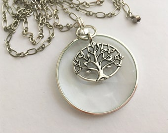 Magnifying Glass Necklace, Long Necklace, Monocle, Loupe, Tree of Life, ByWendra