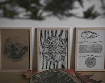 Print Treeprint Linoleum print